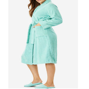 Woman Within Cotton Spa Robe & Slipper Set Aqua #5